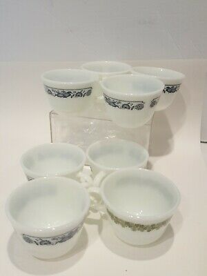 8 Pyrex Glass Cups..6 w Blue flowers, 2 with green flowers..Never Used...Milk??