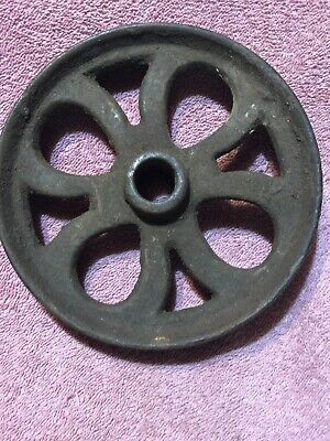 "Vintage Cast Iron Steampunk Decorative Antique 6"" Cast Iron Cart Buggy Wheel"