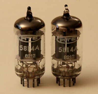 PAIR OF DUAL-TRIODE 5814A NEW & MATCHED n.o.s. - same batch 1982 RTC ( France )