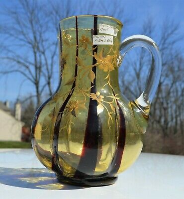 Rare Antique Free Blown Glass Pulled Pigeon Oxblood Blood Amber Painted Pitcher