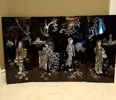 Vintage 4 Wall Panel Lacquer Panels Vietnamese Mother of Pearl Women's Dress
