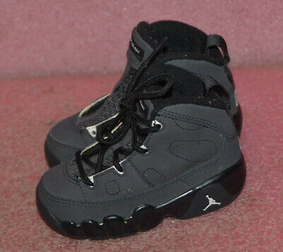 767cfd4205d662 Nike 401812-013 Air Jordan Retro 9 Black Gray Toddler Basketball Shoes Sz 5C