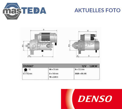 DENSO DSN967 STARTER MOTOR FOR MERCEDES SPRINTER 3,5-t 313 CDI 06.06-05.16