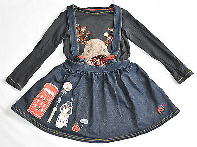 GIRL'S NEXT 3-4 Yrs SKIRT & 3 YRS OLD REINDEER TOP 'ITS ... CHRISTMAS' SET VGC