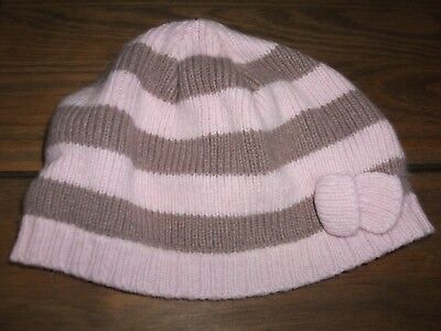 Next baby Girls Brown & Pink Striped Knitted Hat Age 6-12 Months