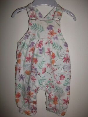 Baby Girls White Multi Sleeveless Bunny Motif Floral Playsuit Age 0-3 Months