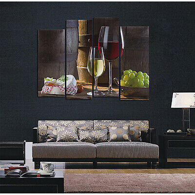 4 Panel Red Wine Grape Picture Canvas Painting Modern Art Wall Decor Unframed !