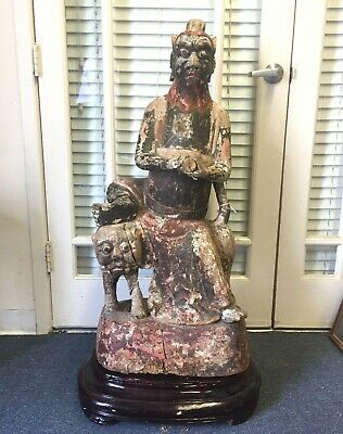 Large Antique Chinese Carved Wood Statue 46 1/2""