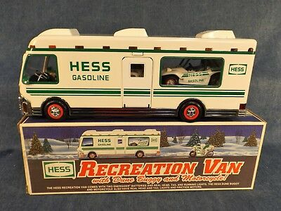 HESS TOY TRUCK - RECREATION VAN with DUNE BUGGY & MOTORCYCLE - 1998 - NEW IN BOX