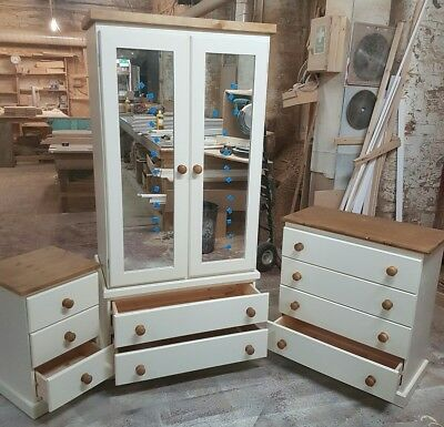 Handmade Crawley 3 Piece Bedroom Set Assmbled (Ivory Cream+Dark Oak)