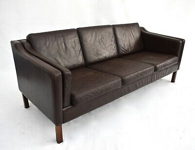 Vintage Danish Dark Brown Leather 3 Seater Sofa Midcentury 1960s