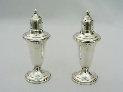 """Vintage Empire 231 Sterling Silver Weighted Pair Of Salt & Pepper Shakers 4.75"""""""