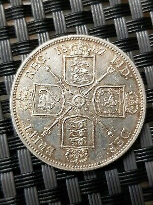 1887 Queen Victoria Florin Coin,GB/UK,Jubilee head,Two shillings,2/-,Cleaned
