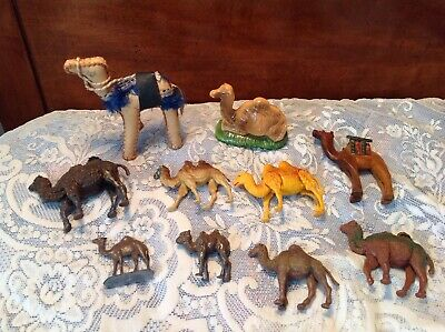 Lot Of 10 Plastic, Wood, Leather & Metal Camel Figures