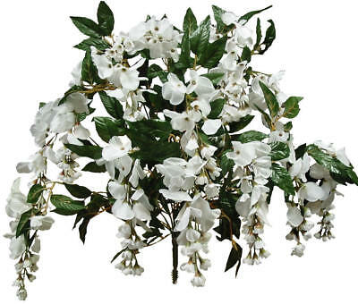 """White Wisteria 14 Stems 24"""" Tall Bush Natural Looking Artificial Flowers Decors"""