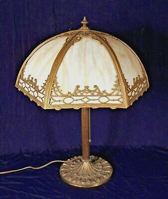 Antique Victorian Art Nouveau Miller Stained Slag Glass Dome Lamp