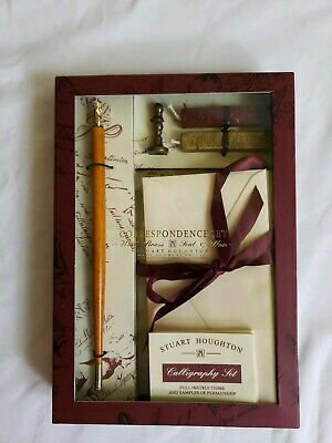 Stuart Houghton Correspondence Set with Brass Seal and Wax Calligraphy Set