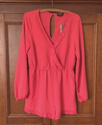 ⛵️ New! BEBE Coral Pink Long Sleeve V-Neck Shorts Romper w/ Pockets NWT $79 M