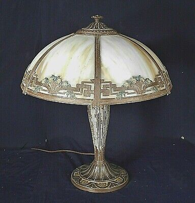"Antique Victorian Art Nouveau 6 Panel Stained Slag Glass Lamp By ""A&R Co"""