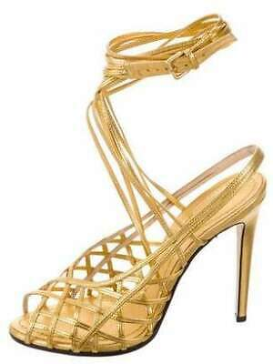 bedba257f7e EMILIO PUCCI Metallic Gold Leather Cage Wrap Ankle Sandals Shoes - size  39.5   9