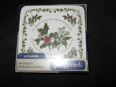 6 Portmeirion Holly & Ivy Pimpernel Square Coasters - New