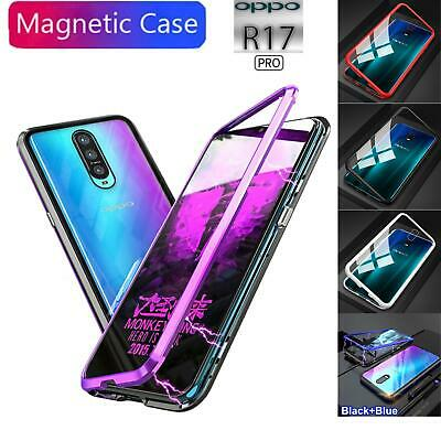 Oppo R17 R17 Pro Phone Case Magnetic Metal Bumper Tempered Glass Back Cover