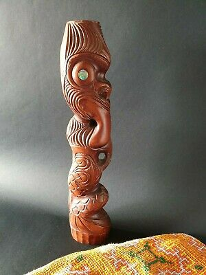 Old New Zealand Carved Kauri Tiki …beautiful display & collection piece