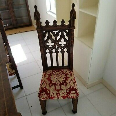 6 (six) Victorian Era Gothic Carved Oak Chairs Professionally Reupholstered
