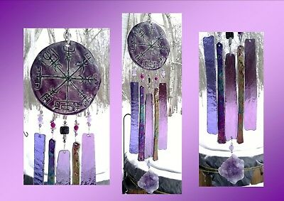Vegvisir Glass Wind Chime Purple Mauve Ceramic Viking Icelandic Runic Compass
