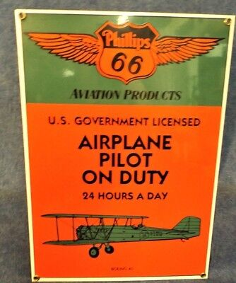 Phillips 66 Porcelain Sign - Aviation Products - Boeing 40 Airplane