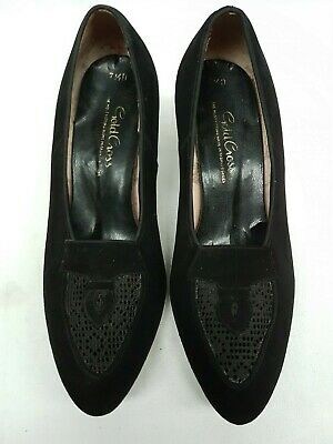Price Reduced Vintage 40's Black Suede Heeled Shoes with Lace Insert size 7.5D