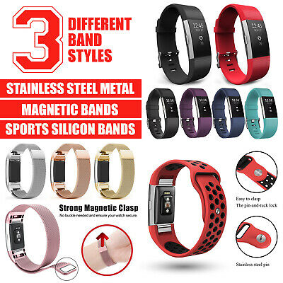 Fitbit Charge 2 Band Replacement Wristband Silicon Sports Watch Strap Metal Lot