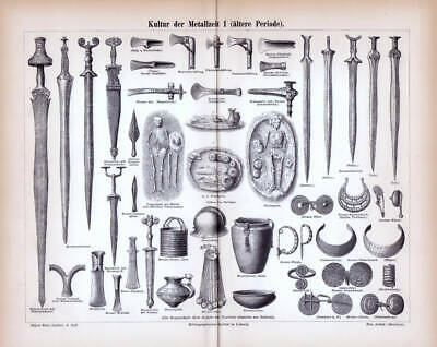 BRONZE AGE WEAPONS SWORDS EQUIPMENT historic antique print Engraving Print 1888
