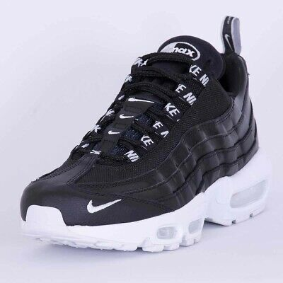 100% authentic 61642 9e17b NIKE AIR MAX 95 Trainers Over Branding Premium Leather Black Size 8  Deadstock Qs