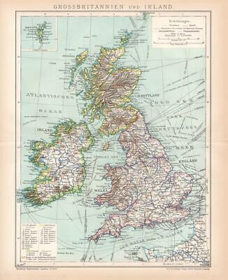 Great Britain Ireland Scotland Shetlands Lithograph 1892 old historical map