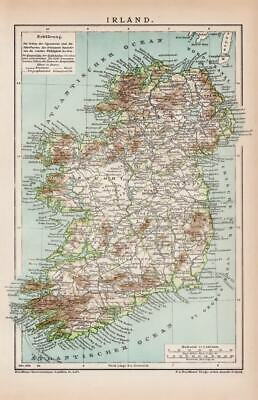 IRELAND DUBLIN WEXFORD LONDONDERRY BELFAST Lithograph dated 1898 historical map