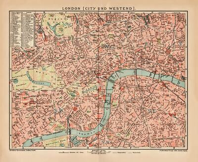 ENGLAND LONDON CITY WESTEND THAMES City Map Lithograph 1892 old historical map