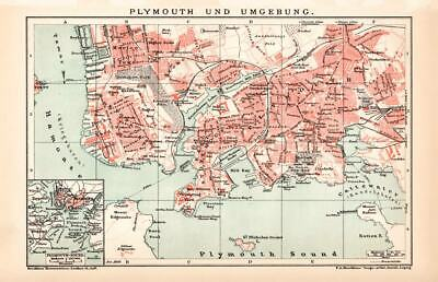 ENGLAND PLYMOUTH CITY & OUTSKIRTS City Map Lithograph 1892 old historical map