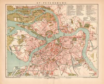 RUSSIA ST.PETERSBURG Lithograph dated 1896 old historical map antique print