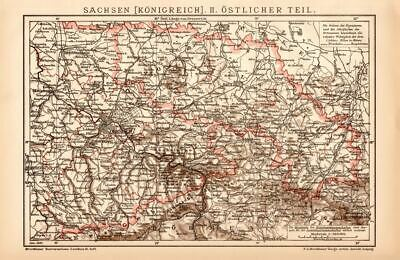 Kingdom of Saxony Eastern Part Lithograph 1892 old historical map antique print