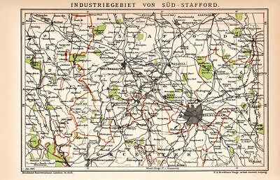 Historical Industrial Area south Stafford England Lithograph 1892 antique map
