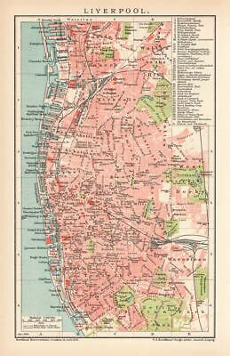 Liverpool England City Map Lithograph 1895 old historical map antique print