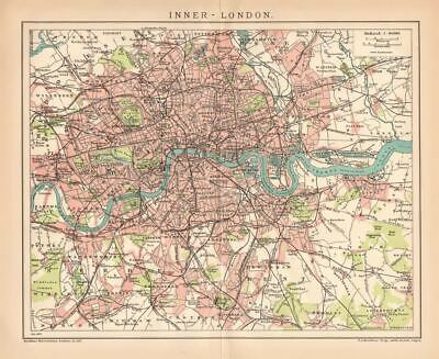 ENGLAND LONDON CITY INNER LONDON City Map Lithograph 1892 old historical map