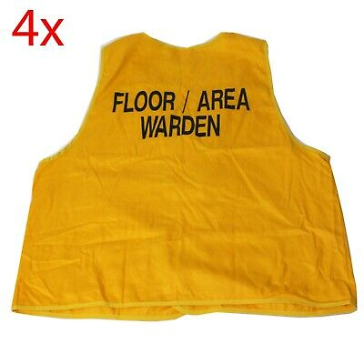 4x Floor / Area Warden Hi-Vis Safety Vest Size X-Large Cotton YELLOW