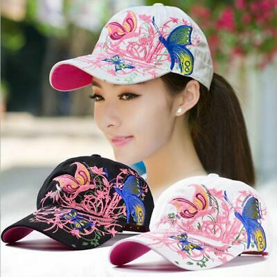 Women Butterflies Flower Embroidery Baseball Cap Girl Sun Hat Casual Snapback