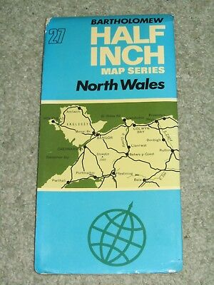 Bartholomews Half Inch Map - North Wales - sheet 27 - on cloth - 1971