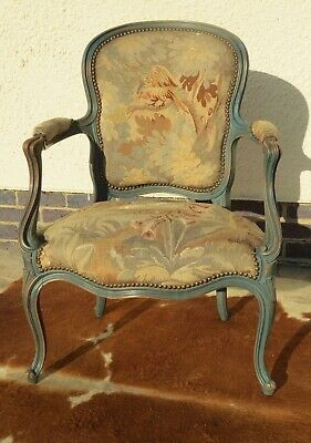 Beautiful Antique French Painted Bedroom Chair Original Needlepoint Tapestry