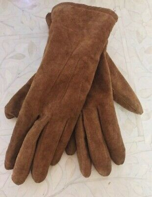 Vintage Brown Suede Gloves