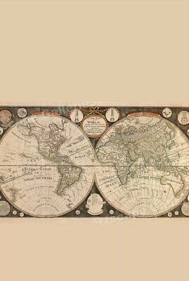 """Old, Vintage Poster Map of the World in 1799 reprint 20 """" x 36"""""""