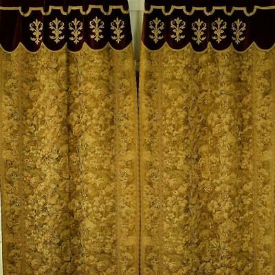 Fabulous Pair Long Antique French Tapestry & Velvet Chateau Curtains / Drapes